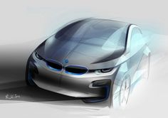BMW i 3 Concept - Design Sketch - from the Design Sketch Board… Bmw Design, Car Design Sketch, Car Sketch, Bike Sketch, Bmw I3, Bmw Electric Car, Super Pictures, Bmw Concept, Industrial Design Sketch