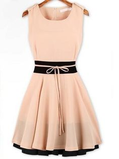 Ladylike Campus Round Neck Short Sleeve Chiffon  Skater Dress Skater Dresses from fashionmia.com