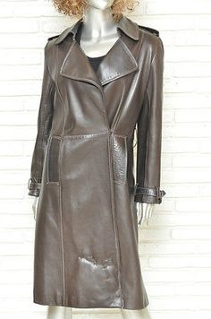 J. Mendel Brown Leather Trench Coat Size Small Double Breasted Women's Coat #jmendel #leathercoat #leathertrench #trenchcoat #chocolatebrown #leathercoat #womenscoats #j.mendel #ebay #coatdress #coat