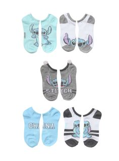 Be team Stitch with these no-show socks from Disney's Lilo & Stitch . The pastel varsity style socks feature images of our favorite little alien and one pair even has white pom poms on the ankle. S'cute! One size fits most 98% polyester; 2% spandex Wash cold; dry low Imported