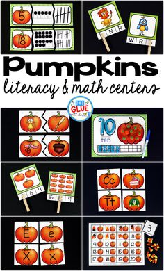 Engage your class in an exciting hands-on experience learning more about pumpkins ! This pack is perfect for language arts and math centers in Preschool, Kindergarten, and First Grade classrooms and packed full of inviting student activities. Celebrate Fall with pumpkin themed center student worksheets. Students will learn more about pumpkins using puzzles, worksheets, clip cards, and subtraction mats. This pack is great for homeschoolers, hands-on kids activities, and to add to your unit…