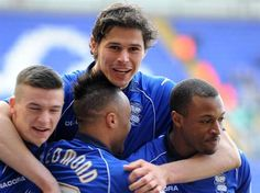 Nikola Zigic joins in the celebrations after Wes Thomas' opener against Millwall. April 2013. #BCFC