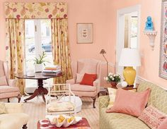 fruity palette You want a rosy color for walls but are afraid to commit to a shade that's too dark and overpowering. Totally understandable. Choose a pale shade of coral and add trim in white for a perfect balance.