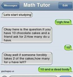 Funny Text About Chocolate Cakes vs. Math