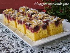Meggyes-mandulás pite - Kifőztük, online gasztromagazin Broccoli Cauliflower Casserole, Dry Bread Crumbs, Hungarian Recipes, Frozen Vegetables, Gourmet Recipes, Waffles, Cheesecake, Food And Drink, Sweets