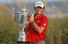 We love this picture of an ecstatic Rory McIlroy with his SECOND major trophy at the age of 23!
