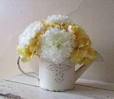 MOTHER'S DAY  Spring Silk Flower Arrangement - White carnations and yellow hydrangeas