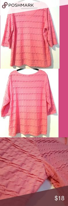 """Croft & Barrow 1X Pink Textured Top This Croft & Barrow 1X Pink Textured Top is in great used condition. Bust measures 25"""" across laying flat, measured from pit to pit, so 50"""" around. Soft, stretchy 65% polyester, 35% rayon. 28"""" long. Elbow to 3/4 length sleeves. ::: Bundle and save! ::: No trades. croft & barrow Tops"""