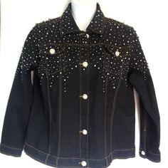 ac4b251432df8 Quacker Factory Jacket Large Black Denim Pearls Rhinestones Embellished  Jeans  QuackerFactory  JeanJacket Embellished Jeans