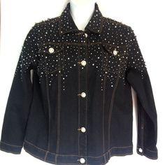 Quacker Factory Jacket Large Black Denim Pearls Rhinestones Embellished Jeans  #QuackerFactory #JeanJacket