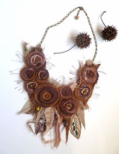 Fall beauty VIII fiber art brown necklace mixed media by Tassel Jewelry, Textile Jewelry, Fabric Jewelry, Jewelry Art, Beaded Jewelry, Handmade Jewelry, Jewellery, Fabric Flower Necklace, Fibre And Fabric