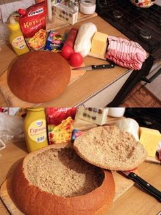 You cut your bread into slices? After this idea you'll NEVER do that again. Dog Breakfast, Homemade Sandwich, Snacks Für Party, Cakes And More, Tasty Dishes, I Love Food, No Bake Cake, Food And Drink, Yummy Food