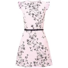 Miss Selfridge Pink Floral Print Shift Dress (£66) ❤ liked on Polyvore featuring dresses, pink, floral shift dress, flounce dress, flutter-sleeve dress, pink ruffle dress and flower print dress