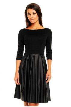 Sukienka ze skórzaną spódnicą KM147
