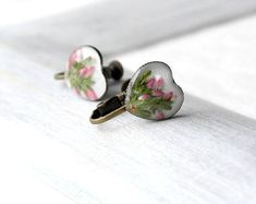 Gift heart earrings Pink heart clip on earrings Pink clip on earrings Flowers clip on earrings for girl Non pierced earrings Heart gift girl