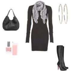 Little black winter dress by polyvore.com