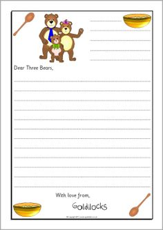 Goldilocks sorry letter writing frames - SparkleBox Traditional Literature, Traditional Tales, Traditional Stories, Language Activities, Book Activities, Sorry Letter, Letter Writing Template, Fairy Tales Unit, Goldilocks And The Three Bears