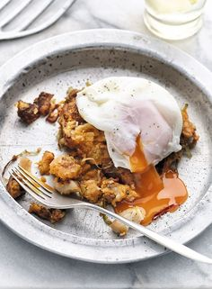 vegetable hash and crispy chorizo topped with soft poached egg
