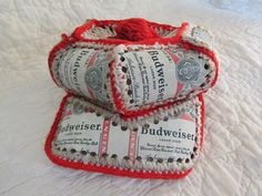 Vintage Budweiser Hat Tin can and knit very retro by rarefinds4u $29.95
