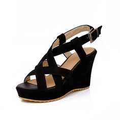 MayMeenth Women's Solid Imitated Suede High-Heels Open Toe Buckle Platforms and Wedges >>> Click on the image for additional details. (This is an Amazon affiliate link)