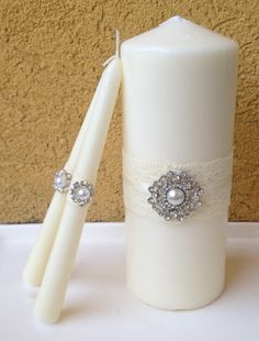 Ivory Unity candles wedding colors - Pearl and rhinestone diamonds. white unity candle set with lace and bling, set of three unity candles