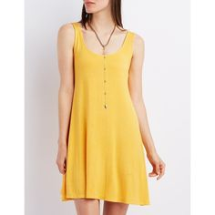 Charlotte Russe Sleeveless Swing Tank Dress ($18) ❤ liked on Polyvore featuring dresses, yellow, tank top dress, yellow swing dress, mini dress, yellow dress and trapeze dress