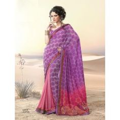 Parrot Green with Purple color Net Designer Readyplate Saree