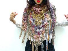 Chunky Scarf, Pastel Scarf, Triangle Shawl, Chunky Crochet, Womens Scarves