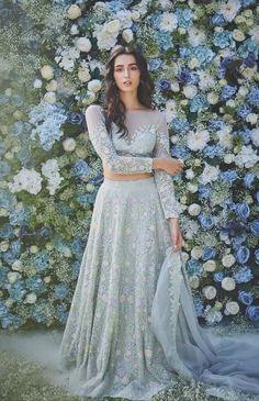 Designer Dresses in beautiful colors Indian Bridal Outfits, Indian Designer Outfits, Designer Dresses, Indian Gowns Dresses, Pakistani Dresses, Indian Lehenga, Blue Lehenga, Lehenga Choli, Glam Look