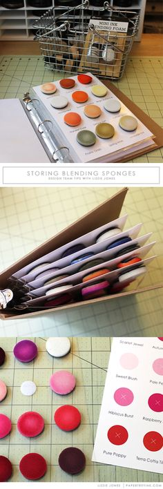 Papertrey Ink Storage Tip for organizing your distress ink sponge ink blending tools using velcro and binder