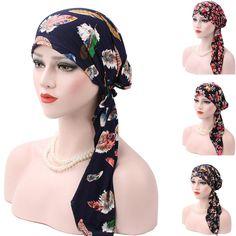 Ladies Bandana Head Scarf Turban Pre-Tied Headwear Chemo Hat Tichel For Cancer Head Wrap Headband, Diy Headband, Headbands, Women's Bandanas, Head Scarf Styles, Hair Hacks, Hair Tips, Scarf Hairstyles, Head Wraps