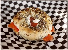 Our signature dish. Bagel, Lox & cream cheese with tomato and onion on an everything bagel. Join us for breakfast, lunch or brunch!
