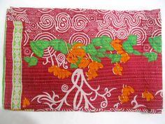 Vintage Kantha Quilt Old Sari Patchwork Bedspread Throw ralli Hand Quilt Throw J #Handmade #AntiqueStyle