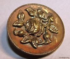 p7123: Antique Signed Eingetr Muster Large Brass Button
