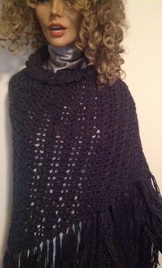 Chagray dark gray triangle Shawl Wrap by mcleodhandcraftgifts,