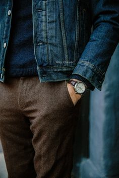those pants // menswear, tweed, fall, winter, fashion, style, mens, watch, denim jacket