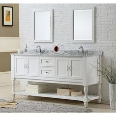Direct Vanity Sink 70-inch Pearl White Mission Turnleg Double Vanity Sink Cabinet - 15365548 - Overstock - Great Deals on Direct Vanity Sink Bathroom Vanities - Mobile