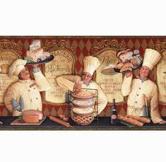 allen Red The Bakery Shop Prepasted Wallpaper Border Decoupage Vintage, Decoupage Paper, Chef Kitchen Decor, Kitchen Art, Kitchen Backsplash, Wallpaper Companies, Borders For Paper, Le Chef, Earth Tones