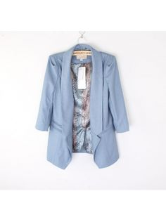 blue turn-down neck leopard pattern tailored suit