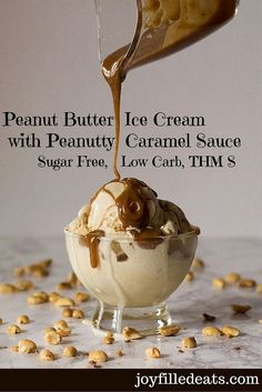 Peanut Butter Ice Cream with Peanutty Caramel Sauce - this tastes just as amazing as it looks. Low Carb, Sugar Free, THM S. via @joyfilledeats