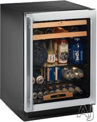 """U Line U1224BEVS00A 24"""" Built-in Beverage Center with 5.4 cu. ft. Capacity, 85 12-oz. Bottle Capacity, 105 12-oz. Can Capacity, 16 Wine Bottle Capacity, LED Lighting and Star K Certified: Stainless Steel"""