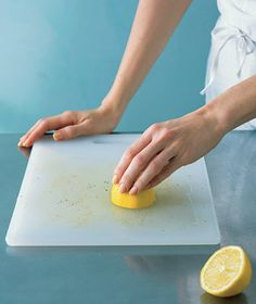 Use lemon to clean cutting board stains