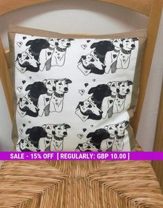 Greyhound Cushion cover, Greyhounds on Fabric, Dog Gifts for pet lovers, Doggie owners gift, Retired greyhound, Christmas gift ideas, Dogs