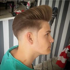 Men's Hair, Haircuts, Fade Haircuts, short, medium, long, buzzed, side part, long top, short sides, hair style, hairstyle, haircut, hair color, slick back, men's hair trends, disconnected, undercut, pompadour, quaff, shaved, hard part, high and tight, Mohawk, trends, nape shaved, hair art, comb over, faux hawk, high fade, retro, vintage, skull fade, spiky, slick, crew cut, zero fade, pomp, ivy league, bald fade, razor, spike, barber, bowl cut, 2020, hair trend 2019, men, women, girl, boy… Pompadour Hairstyle, Undercut Pompadour, Style Hairstyle, Hair Trends 2015, Mens Hair Trends, Men's Hair, Hair Art, Modern Pompadour, Disconnected Undercut