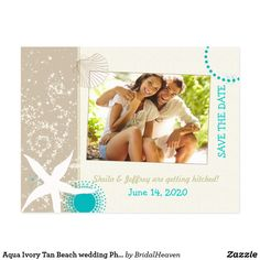 Aqua Ivory Tan Beach wedding Photo Save the Date Postcard Whimsical starfish & beach sand in white + brown sea shell + teal geometric shapes + taupe & ivory background illustrated on custom Photo Wedding Save the Date Postcards. This cute & unique beach theme design will be amazing for your CARIBBEAN BEACH WEDDING | STYLISH SEASIDE WEDDING | CHIC TROPICAL WEDDING or SUMMER DESTINATION WEDDING! All the sample text and photo can be easily personalized with your own wording and picture. Feel…