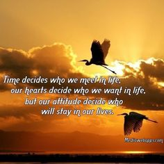 Time decides who we meet in life, our hearts decide who we want in life, but our attitude decide who will stay in our lives.
