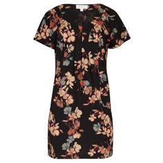 Black & Brown Floral Print Tunic Dress in DRESSES from Apricot