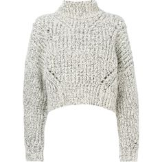 Isabel Marant chunky-knit sweater (10 210 ZAR) ❤ liked on Polyvore featuring tops, sweaters, white, cropped turtleneck sweater, long sleeve crop sweater, white long sleeve sweater, long sleeve sweater and crop top