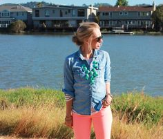 Love the denim/ stripe shirt combo with the pinky-coral jeans!