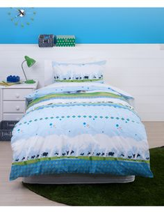 This duvet cover set features Hairy Maclary from Donaldson's Dairy with a big, juicy bone, trotting off on an adventure. His rascally canine friends all appear in the fun, repeating silhouette border.